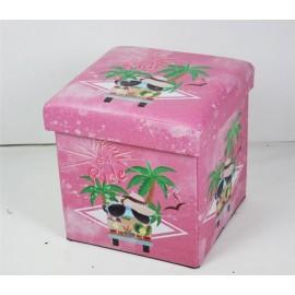 Baule Puff Porta Oggetti Rosa Palme 38x38h38