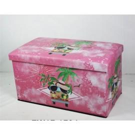 Baule Puff Porta Oggetti Rosa Palme 76x40h41