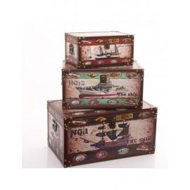 Baule Puff MDF Porta Oggetti Navi Set 3pz  50X30H25