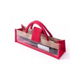 Portabottiglie Juta Rosso 35x10h10