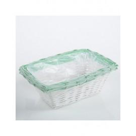 Portavaso Vimini Bianco Verde 37x25h15