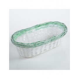 Portavaso Vimini Bianco Verde 44x25h14