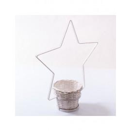 Portavaso Stella Vimini Metallo Bianca 50h57