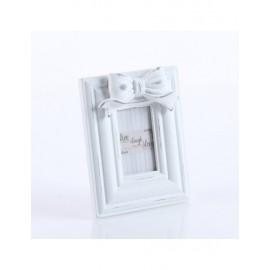 Portafoto Legno Fiocco Bianco 14x11