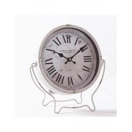 Orologio Metallo Da Tavolo Bianco H31