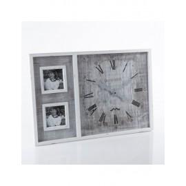 Orologio Portafoto Legno Bianco 60x40