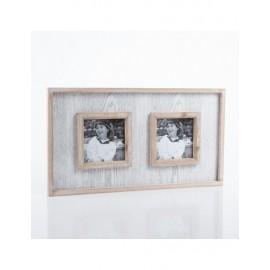 Portafoto Legno 2p Bianco Grigio 40x22