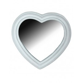 Specchio Legno Cuore Bianco 30x30