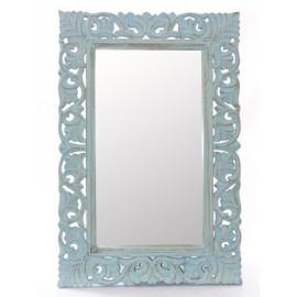 Specchio Mango Azzurro Mdf Intagliato 60h90