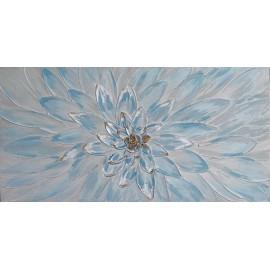 Quadro Dipinto Fiore Azzurro 60x120
